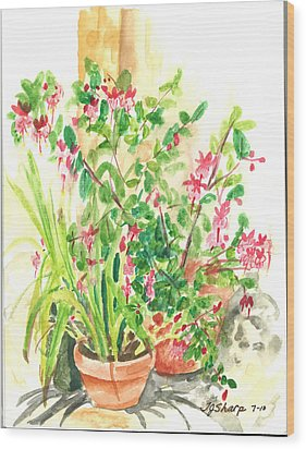 Patio Pots Wood Print by Teresa J Sharp