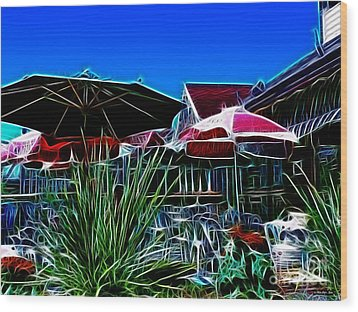 Patio Umbrellas Wood Print by Methune Hively