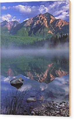 Patricia Lake Banff Canada Wood Print by Dave Mills