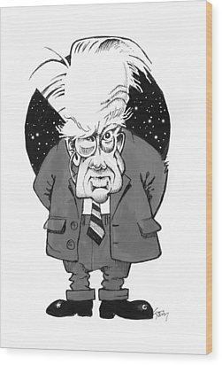 Patrick Moore, British Astronomer Wood Print by Gary Brown