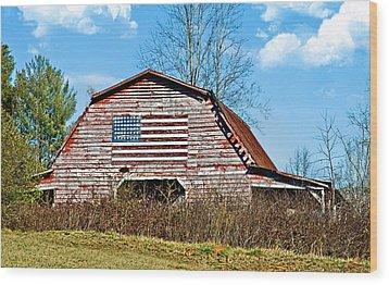 Patriotic Barn Wood Print by Susan Leggett