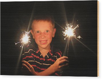 Wood Print featuring the photograph Patriotic Boy by Kelly Hazel