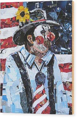 Patriotic Clown Wood Print by Suzy Pal Powell