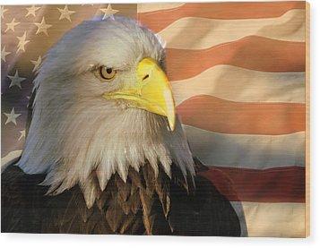 Patriotic Eagle Wood Print by Marty Koch