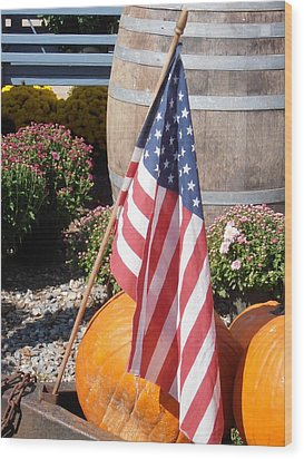 Patriotic Farm Stand Wood Print by Kimberly Perry