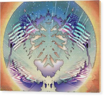 Wood Print featuring the painting Patriotic Reflections by Mario Carini