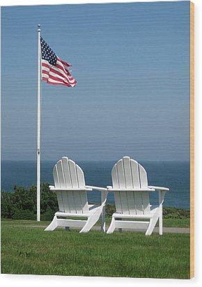 Patriotic Serenity Wood Print by Rose Pasquarelli
