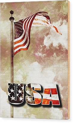 Patriotism The American Way Wood Print by Phill Petrovic