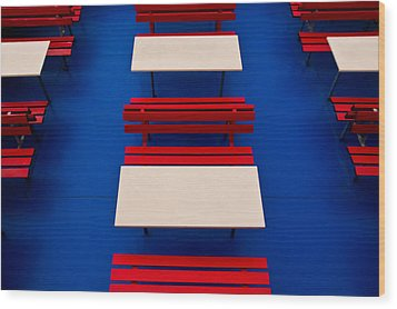 Patterned Benches Wood Print by Justin Albrecht