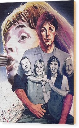 Paul Mccartney And Wings Wood Print by Ken Meyer