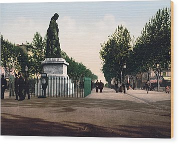 Paul Riquet Statue And The Allees In Beziers - France Wood Print by International  Images