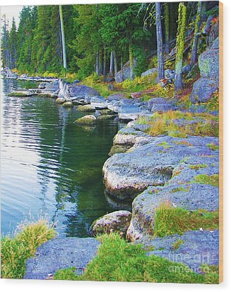 Wood Print featuring the photograph Paulina Lake Shore by Michele Penner