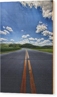 Pavement Approach Wood Print by Bill Tiepelman