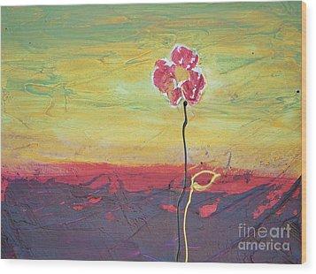 Paw Print Flower Wood Print