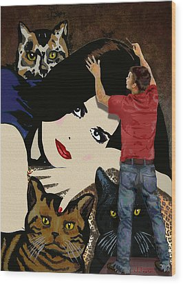 Wood Print featuring the painting Paxton Painting Pussy by Jann Paxton