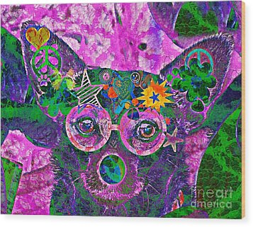 Peace And Love Chihuahua Wood Print by Kevin Moore