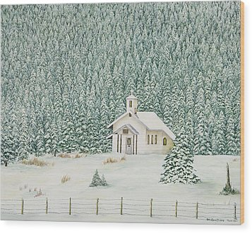 Peace In The Mountains Wood Print by Mary Ann King
