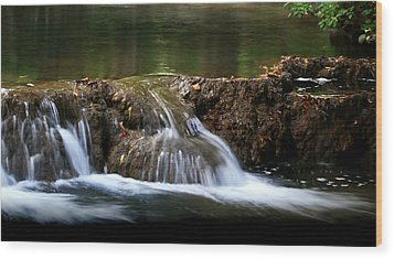 Peaceful Falls Wood Print by Karen Harrison