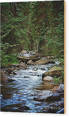 Peaceful Mountain River Wood Print by Lisa Holmgreen