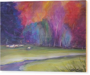 Peaceful Pastoral Sheep Wood Print by Therese Fowler-Bailey