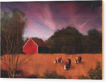Peaceful Pasture Wood Print by Suni Roveto