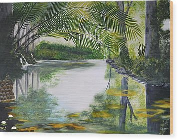 Peaceful Pond Wood Print by Tessa Dutoit