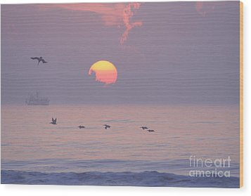 Peaceful Sunrise Wood Print by Clint Day