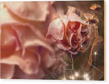 Peach Roses And Ribbons Wood Print by Svetlana Sewell