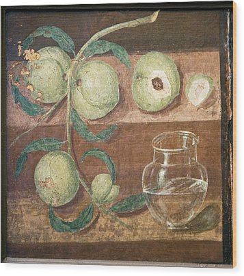 Peaches And A Glass Jug, Roman Fresco Wood Print by Sheila Terry