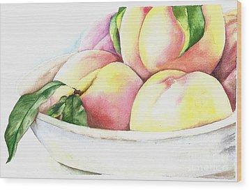 Peaches Wood Print by Elizabeth York
