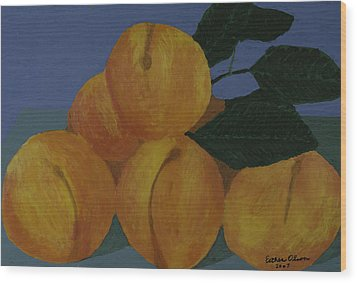 Peaches Wood Print by Esther Olson