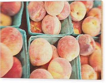 Peaches Wood Print by Kim Fearheiley