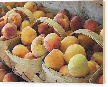 Peaches Wood Print by Kristin Elmquist