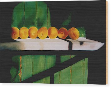 Peaches On A Ledge Wood Print by Elise Okrend