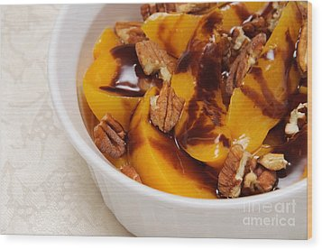 Peaches With Chocolate Drizzle And Pecans Wood Print by Andee Design