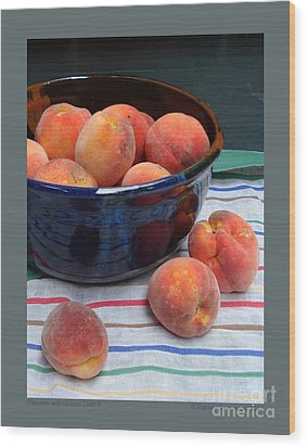 Peaches With Striped Cloth-ii Wood Print by Patricia Overmoyer