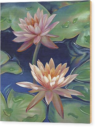 Wood Print featuring the painting Peachy Pink Nymphaea Water Lilies by Nancy Tilles