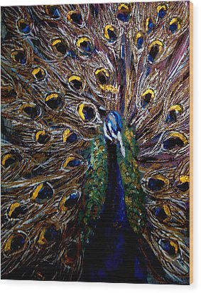 Wood Print featuring the painting Peacock 1 by Amanda Dinan