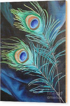 Peacock Beauties Wood Print