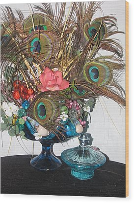 Peacock Feather Center Piece In Blue Glass Wood Print by HollyWood Creation By linda zanini