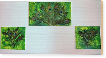 Peacock Feather Trio Wood Print by Evelyn SPATZ
