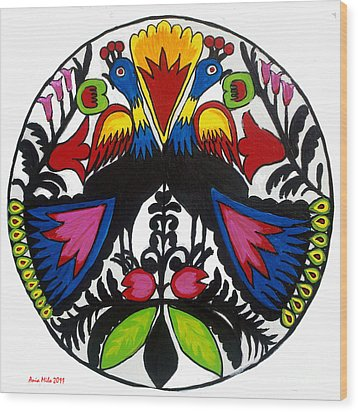 Peacock Tree Polish Folk Art Wood Print
