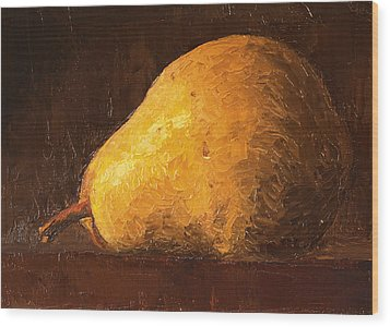 Pear By Knife Wood Print
