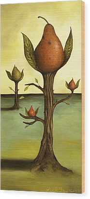 Pear Trees Wood Print by Leah Saulnier The Painting Maniac