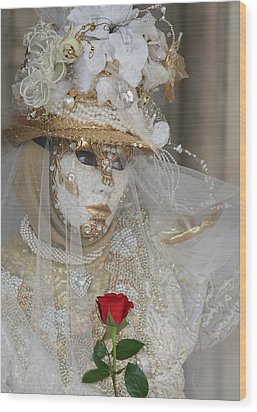 Pearl Bride With Rose 2 Wood Print by Donna Corless