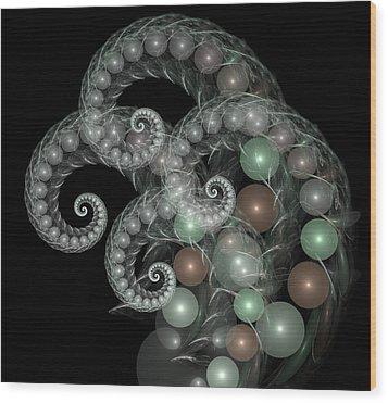 Pearl Curls Wood Print by Pam Blackstone