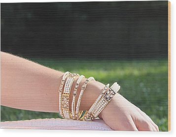 Pearl Of India Bangles Wood Print by Courtney Hancock