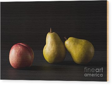 Pears And Peach Wood Print by Catherine Lau
