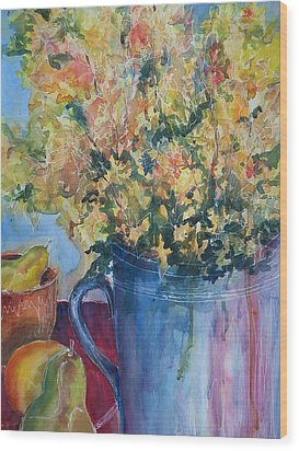Pears And Petals Wood Print by Sandy Collier