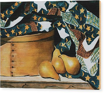 Pears And Stars Wood Print